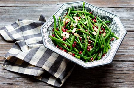 Haricot verts with almonds and pomegranate seeds